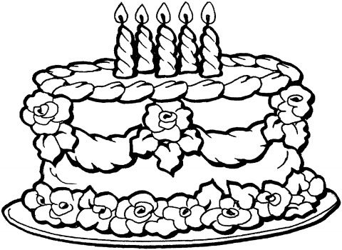 Birthday Guest Book Printable Pages | Cake coloring pictures ...