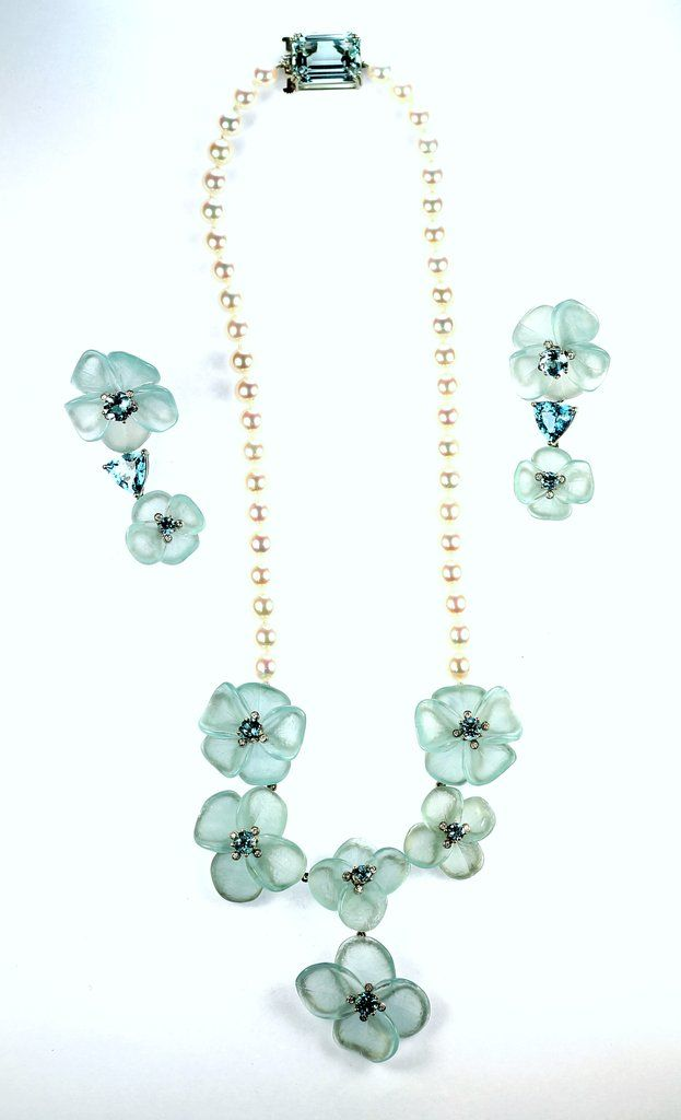 Janet Deleuse Designer Aqua And Pearl Necklace Set Clip Earrings