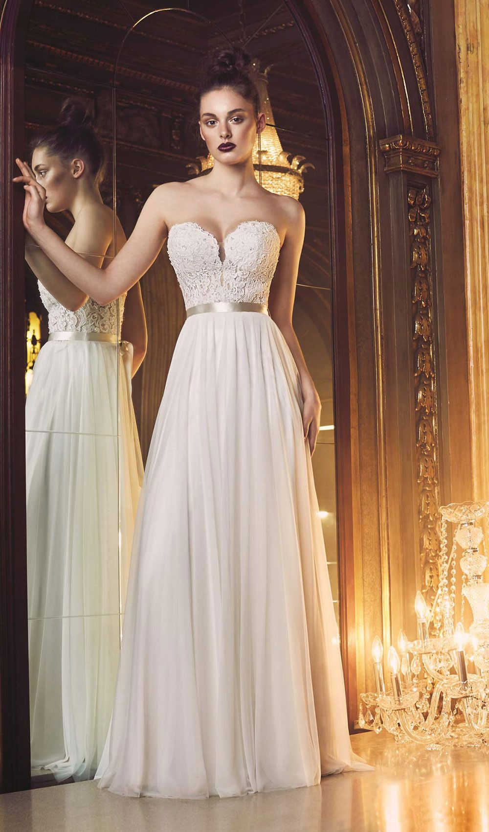 Wedding dress cups  Try this French Alencon mesh tulle and lace wedding dress Strapless