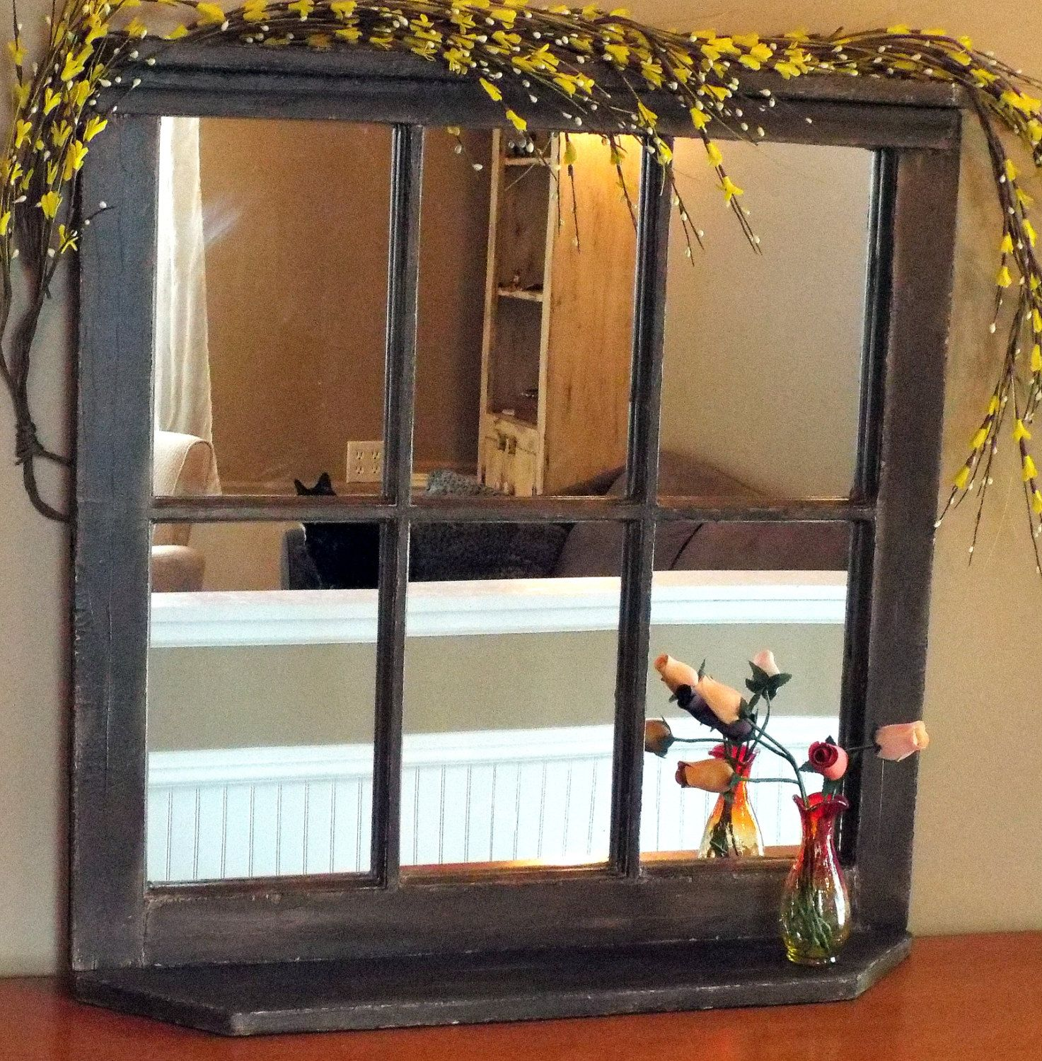 Custom Vintage Reclaimed Wood Window Frame Mirrors With Top And
