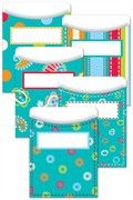 $5 for 35 Dots On Turquoise Library Pockets - For homework cards in room