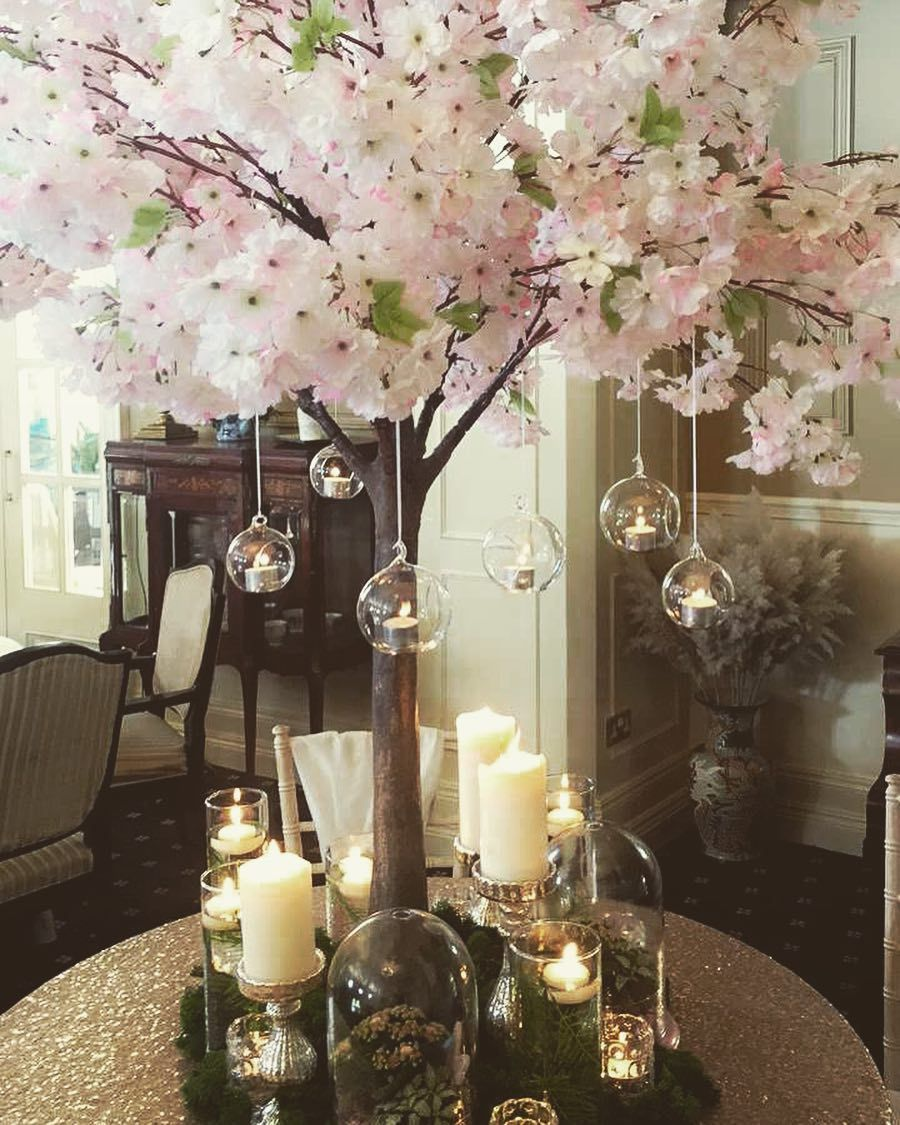 Our New Cherryblossomtree Centrepieces Candles Tietheknotweddings Tie The Knot Wedding Tree Centerpieces Centre Pieces