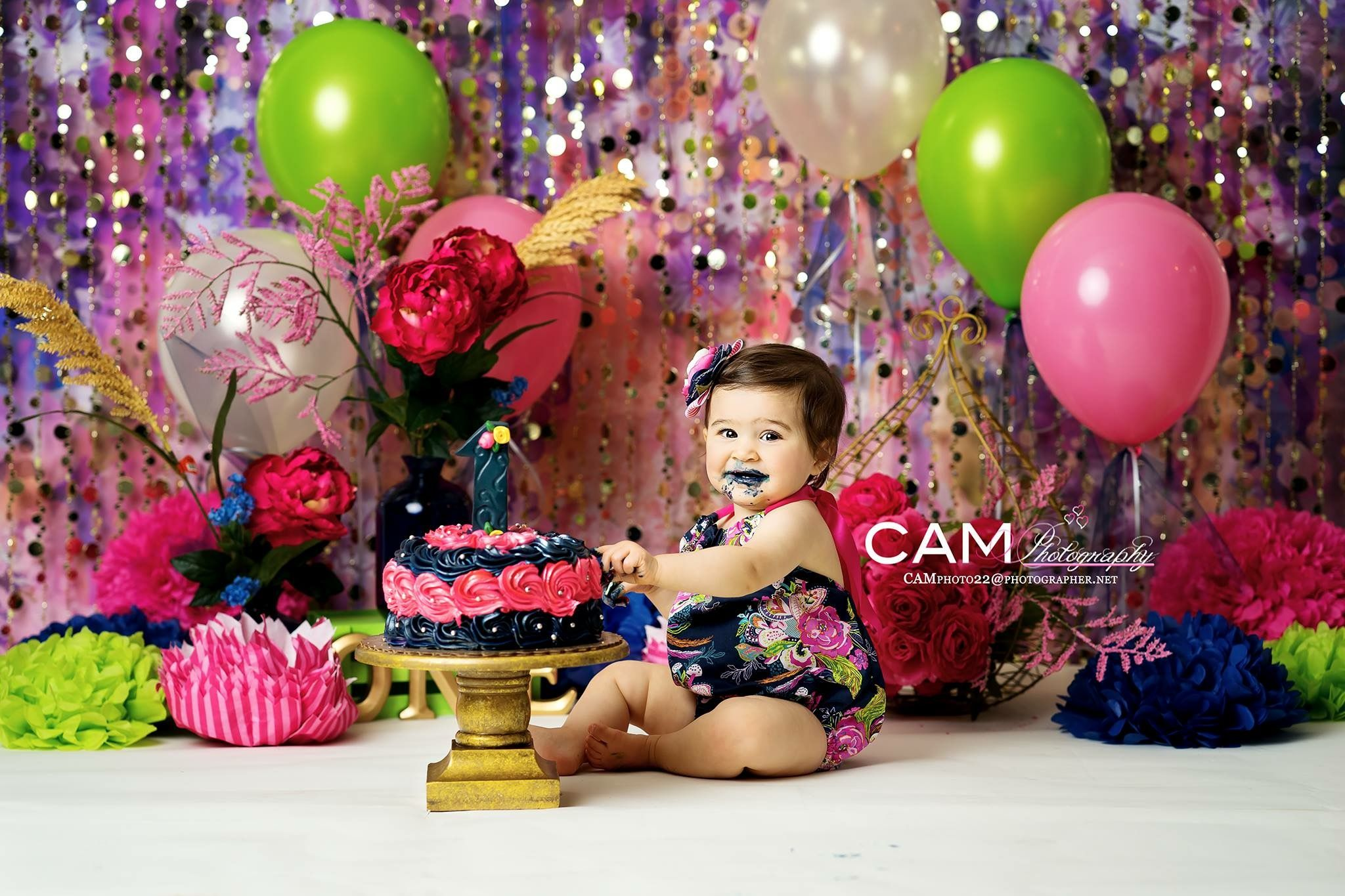 Navy Blue Pink Green Flower First Birthday Photo Shoot First