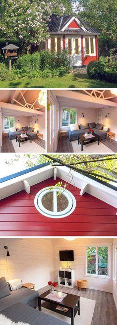 Gartenhaus im ClockhausStil mit Schlafboden und