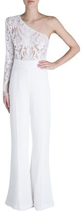 74eba774206 Carla Zampatti White Crepe Lace Jumpsuit