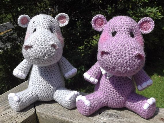 Baby Hippo Crochet Amigurumi Pattern, PDF file only, doll not included #babyhippo