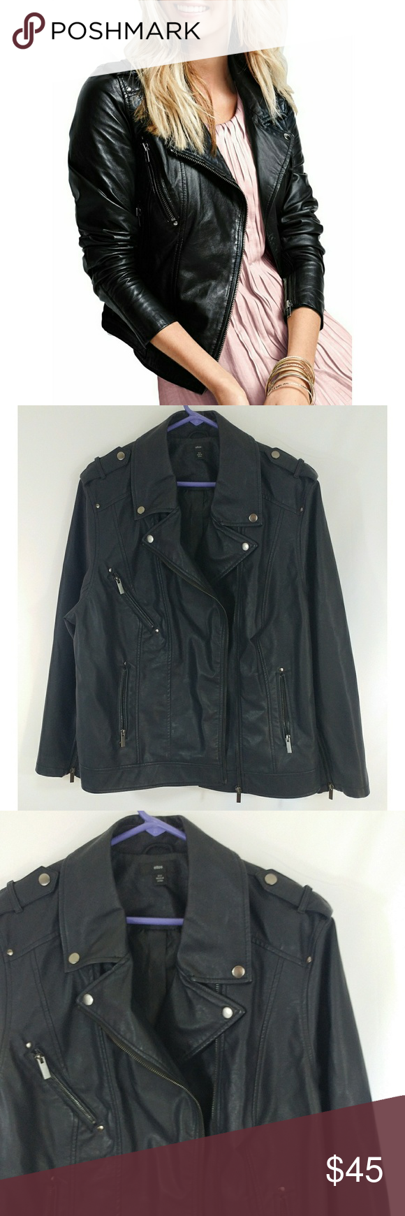 08b2773a48e77 Ellos Faux Leather Moto Jacket Shell is 100% polyester with polyurethane  coating Lining is 100% polyester Dry clean only Ellos Jackets   Coats