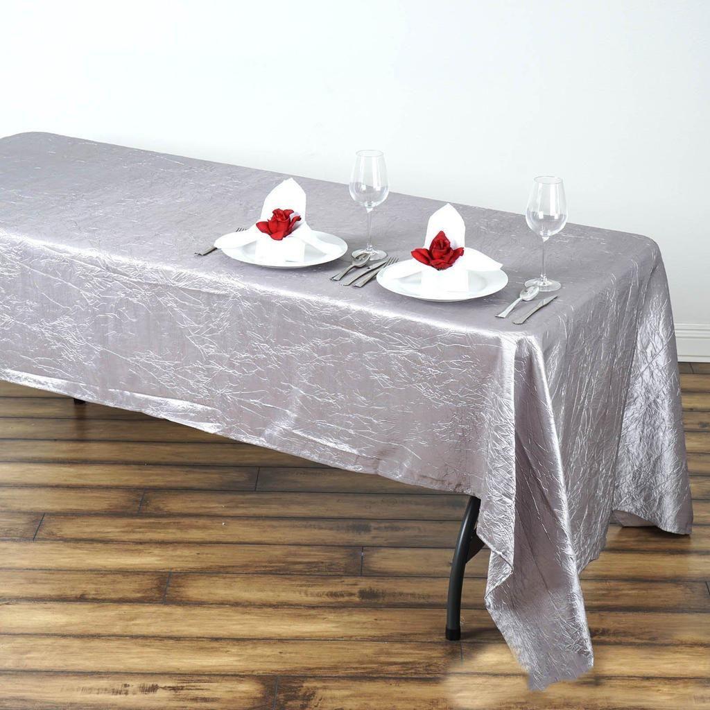60x126 Silver Crinkle Crushed Taffeta Rectangular Tablecloth In