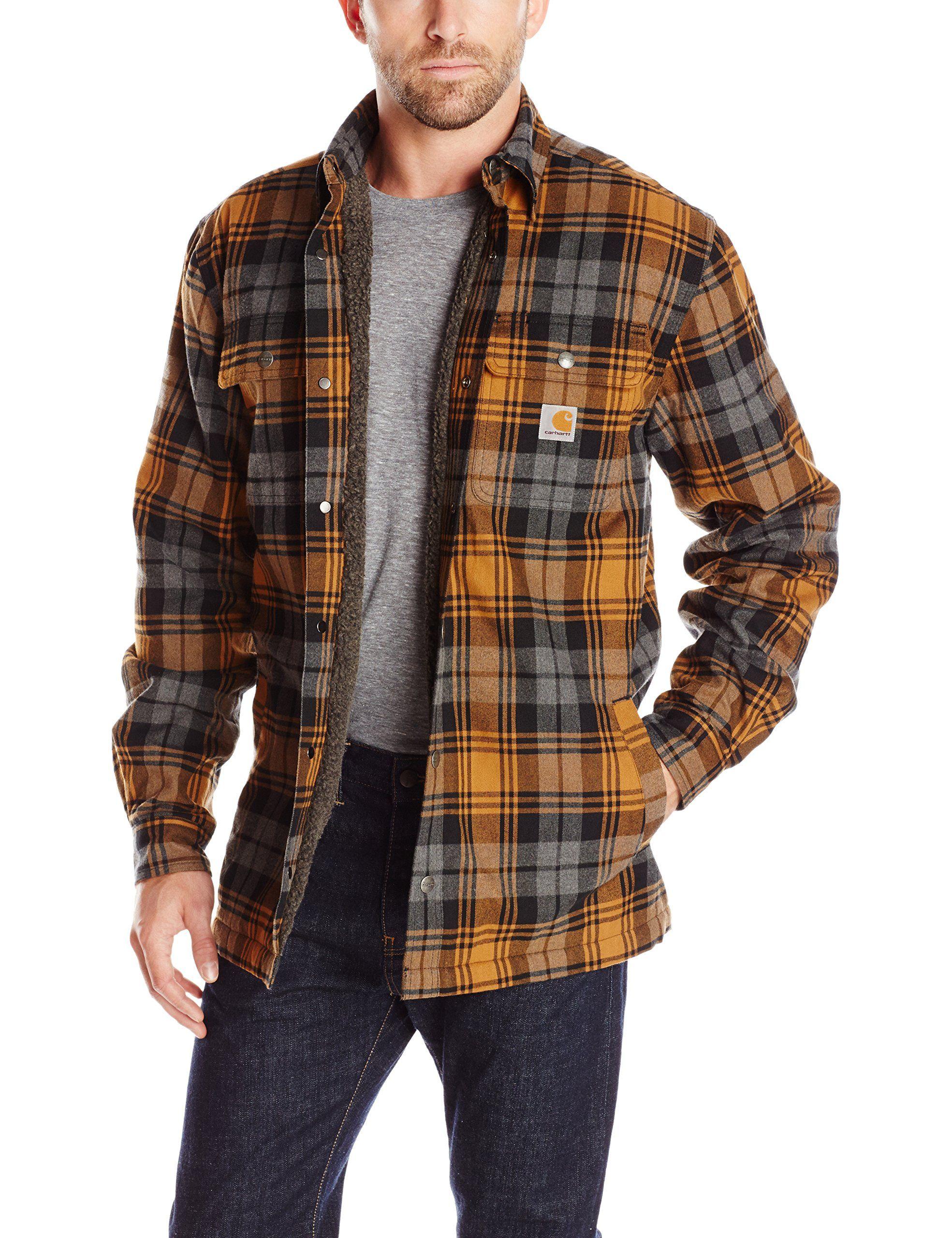 f107150b9cce2d Carhartt Men's Hubbard Sherpa Lined Shirt Jacket, Carhartt Brown, Large