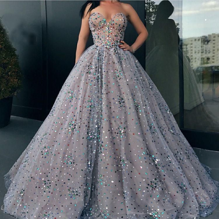 Ball Gown Prom Dresses Sweetheart Rhinestone Long Sparkly Prom Dress  JKL972 4300e0d8a