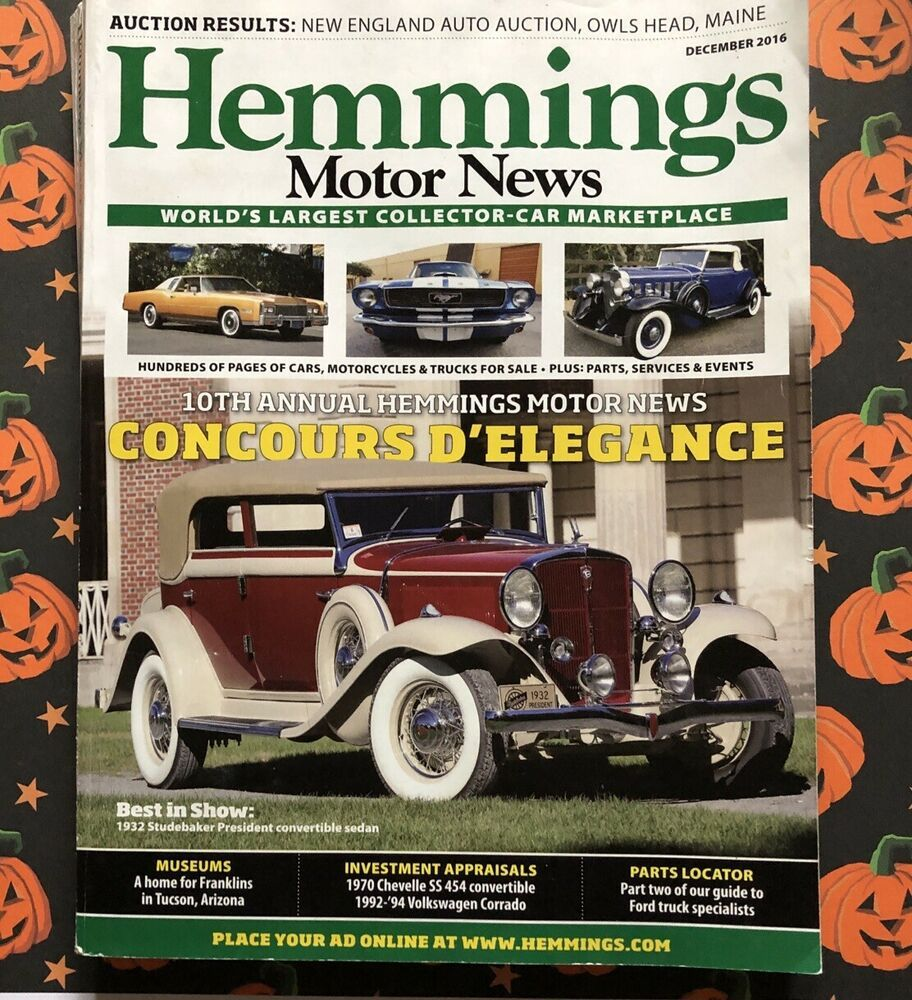 Hemmings Motor News Magazine December 2016 Concours D Elegance Ebay Trucks For Sale Car Auctions Magazine