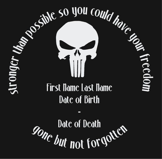 In Loving Memory Of Punisher Skull Decal Military Support Remembrance Window Sticker Personalized Memor Punisher Skull Decal Skull Decal Punisher Skull