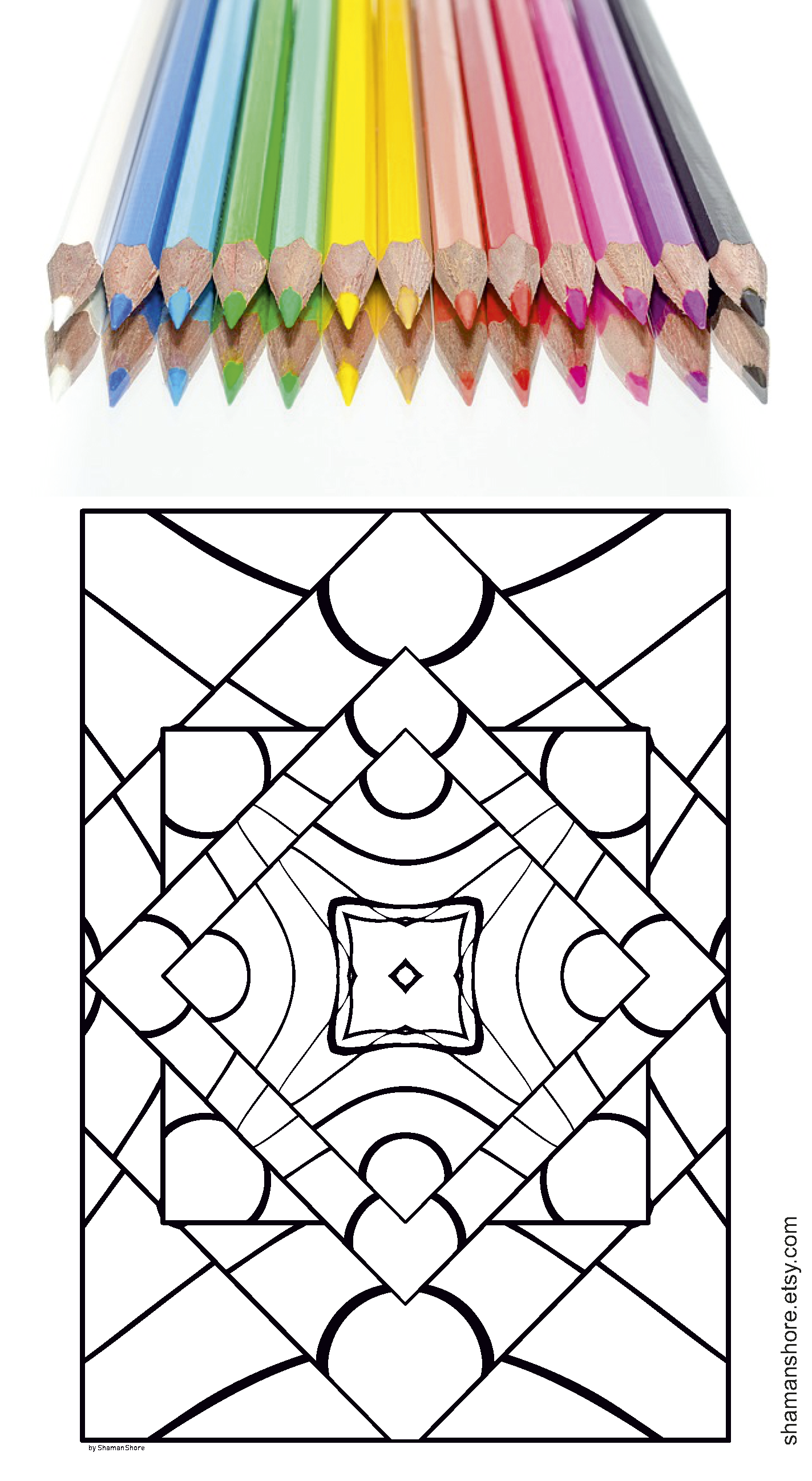 Pdf Adult Coloring Book, 20 Abstract Kaleidoscope Coloring Pages for ...