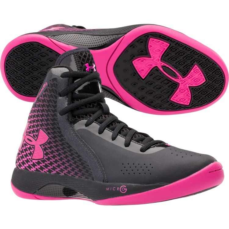 These under armour pink and black womens basketball shoes love them