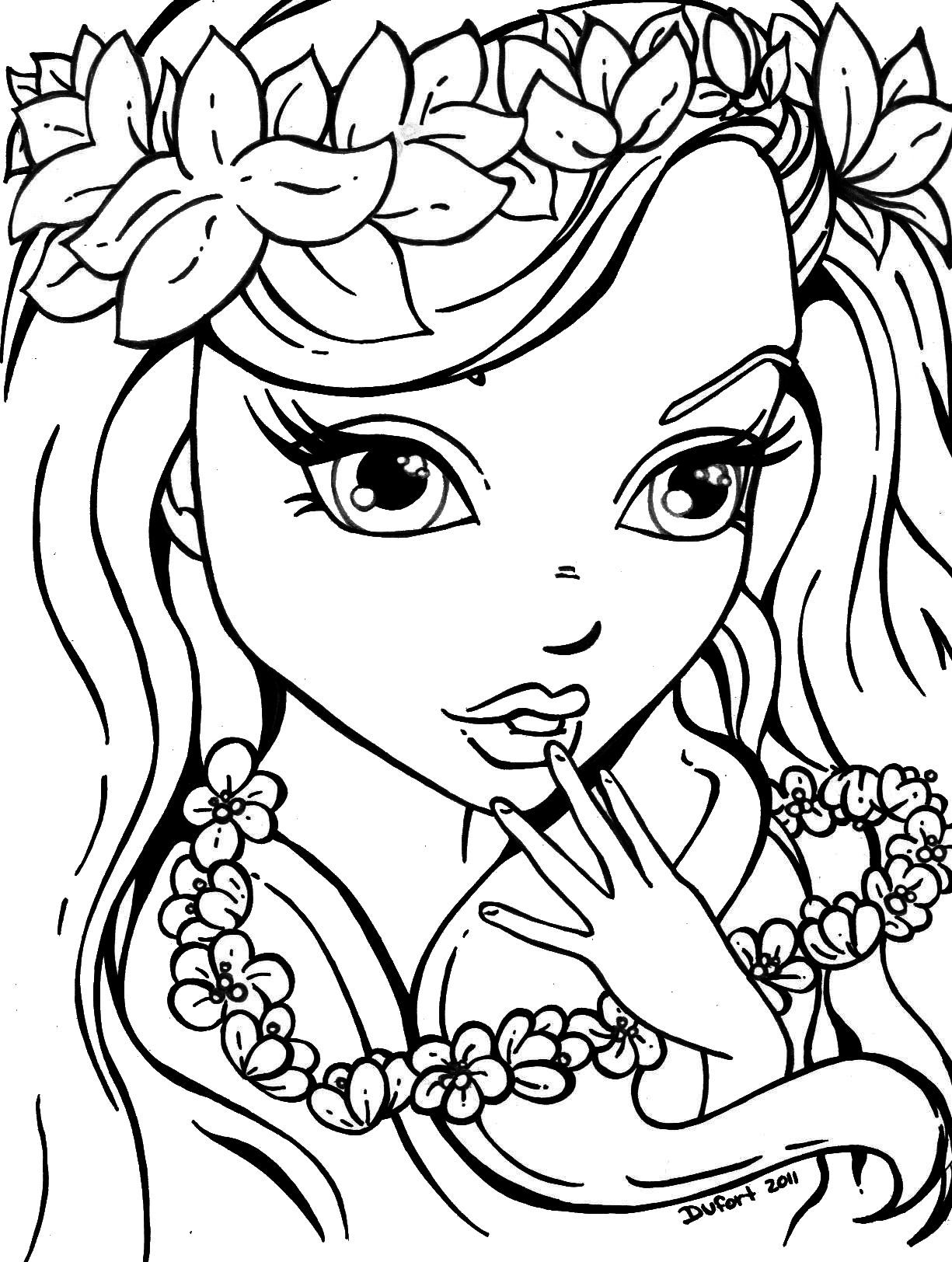 Flowers Girl Mermaid Coloring Pages Cool Coloring Pages Cute Coloring Pages