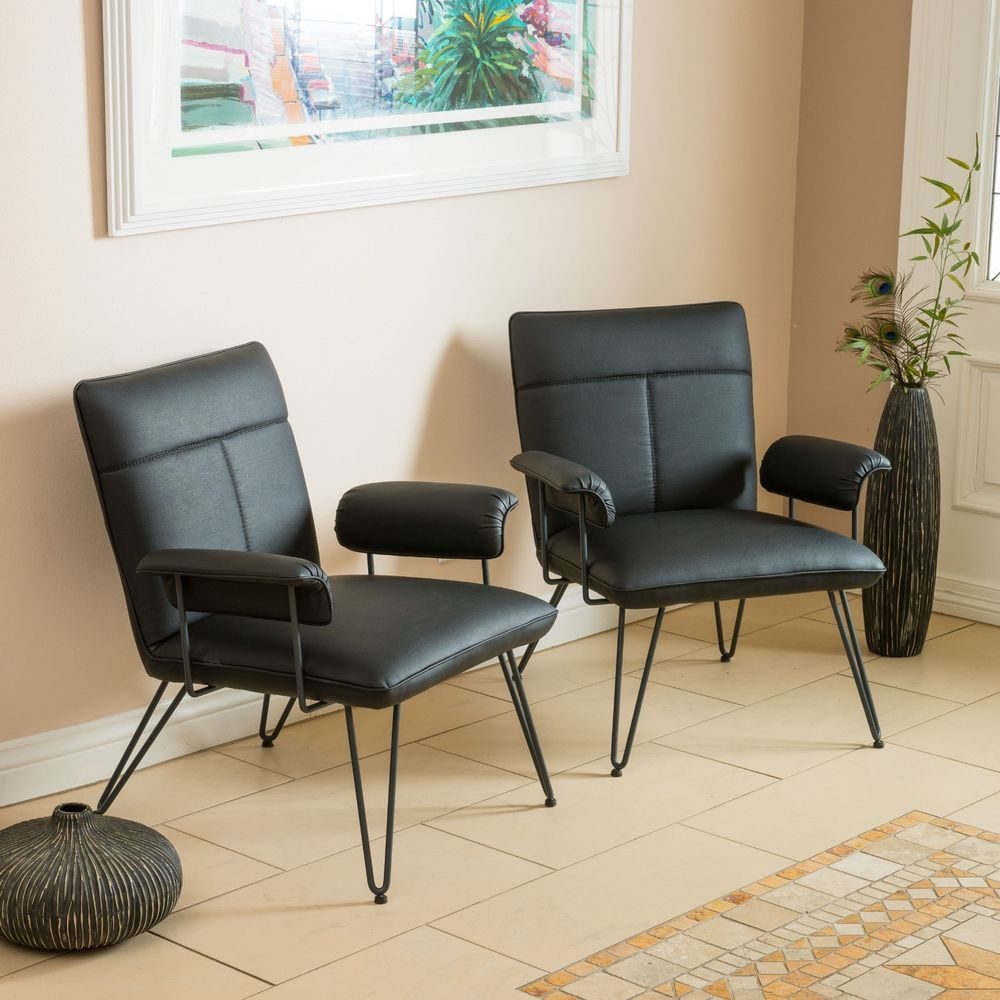 Best Set Of 2 Modern Mid Century Design Black Vinyl Arm Chairs 640 x 480
