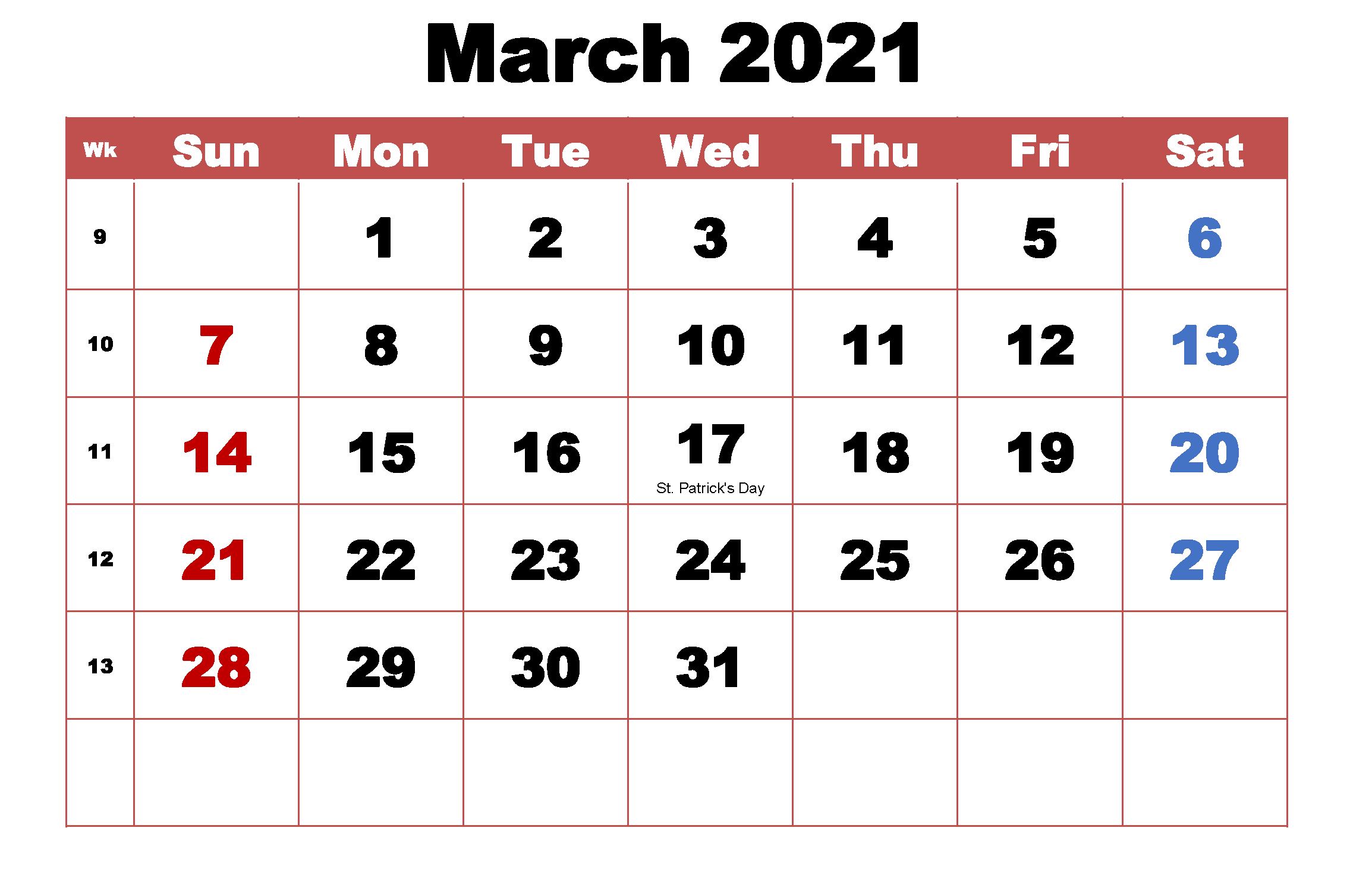 Monthly March 2021 Calendar Template In 2020 2021 Calendar Template Printable Calendar