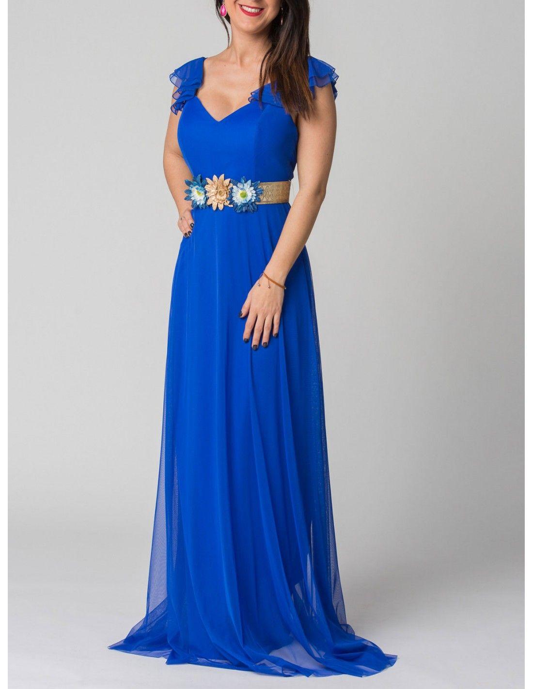 d8175faef9aa0 Vestido Gilda - Vestido de tul en color azul klein. Escote en pico. Detalle