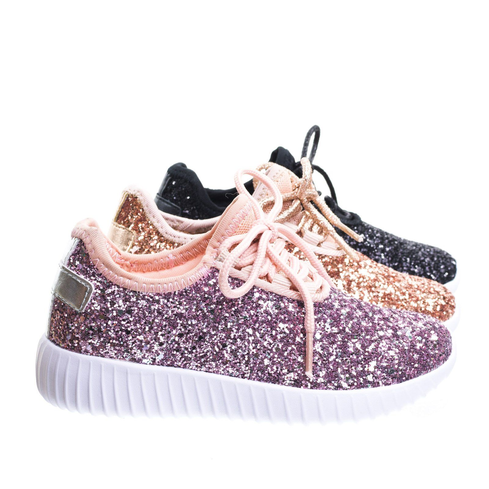 c5bdc6940ee Remy18k Lace up Rock Glitter Fashion Sneaker For Children / Girl ...