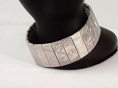 Vintage Victorian Style Silver Tone Flower Bracelet Mesh Back Etched Detail | eBay