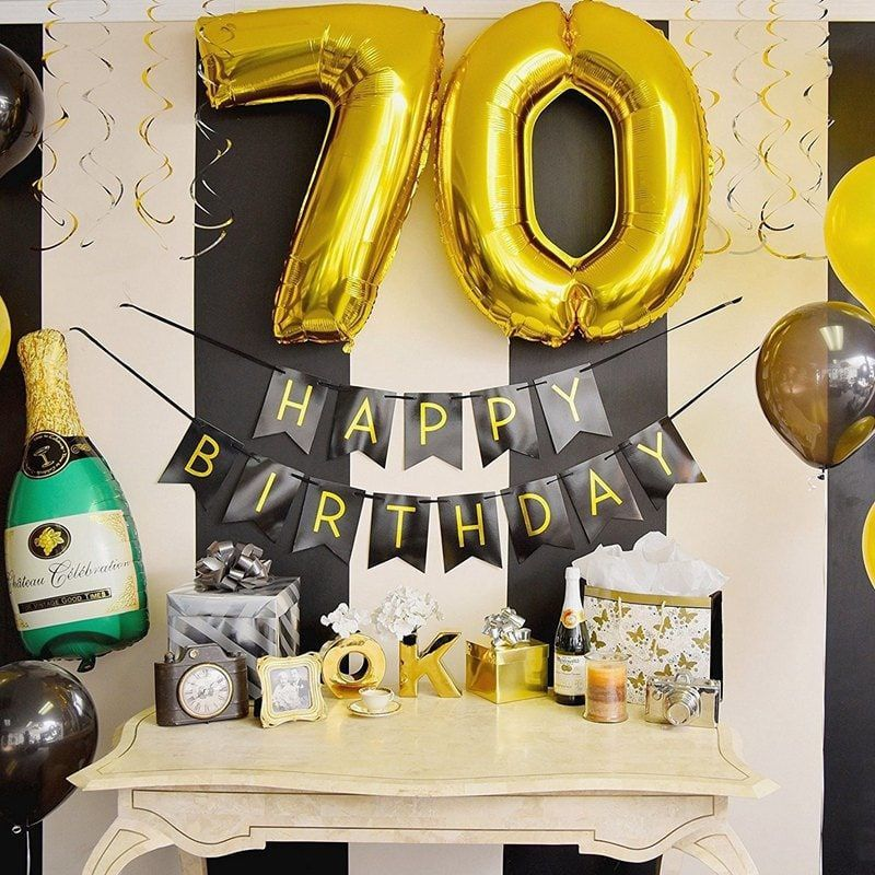 Gold and Black 70th Birthday Swirl Decorations
