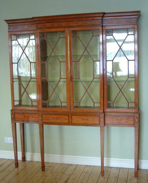 Room Edwardian Satinwood Breakfront Display Cabinet