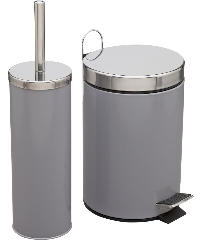 buy colourmatch bathroom bin and toilet brush set smoke grey at argosco