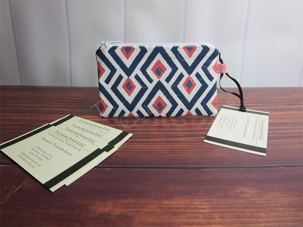 Coral, Blue, White Arrows Mini Coin Wallet - ID Card Holder ...