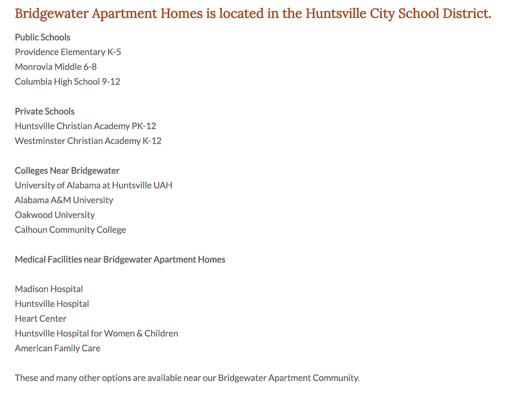 Here are the schools you'll find associated with our Bridgewater community and a list of nearby medical facilities.