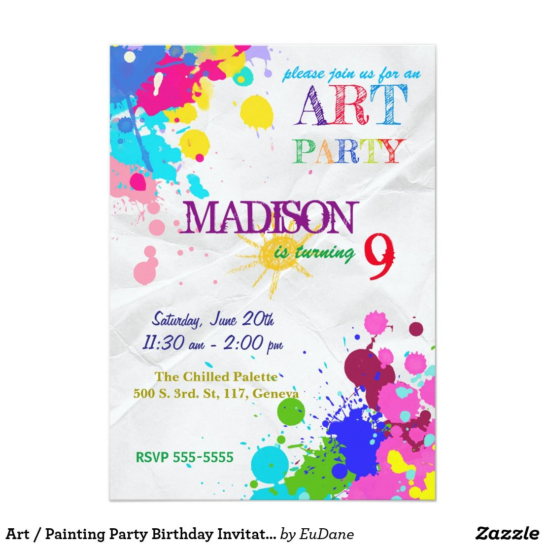 Art / Painting Party Birthday Invitation | Pinterest