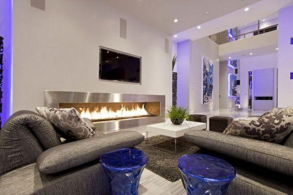 Lila Inspiration Im Wohnzimmer Hocker Sofa Feuerstelle