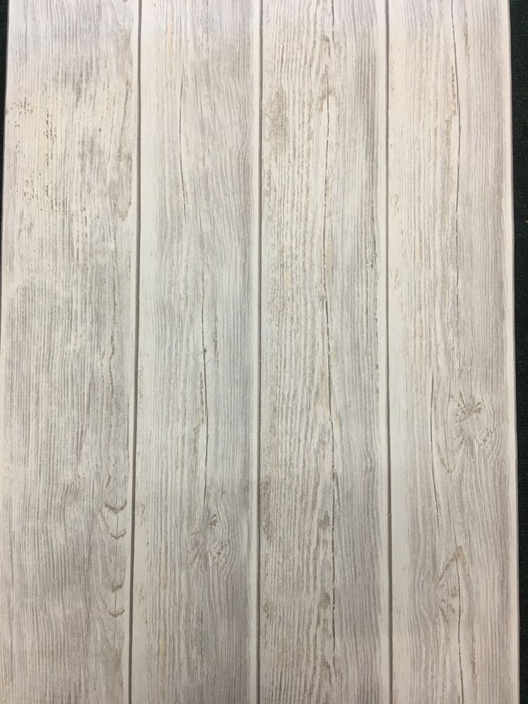 Feature wallpaper 3D Wood panel effect Aged White ash