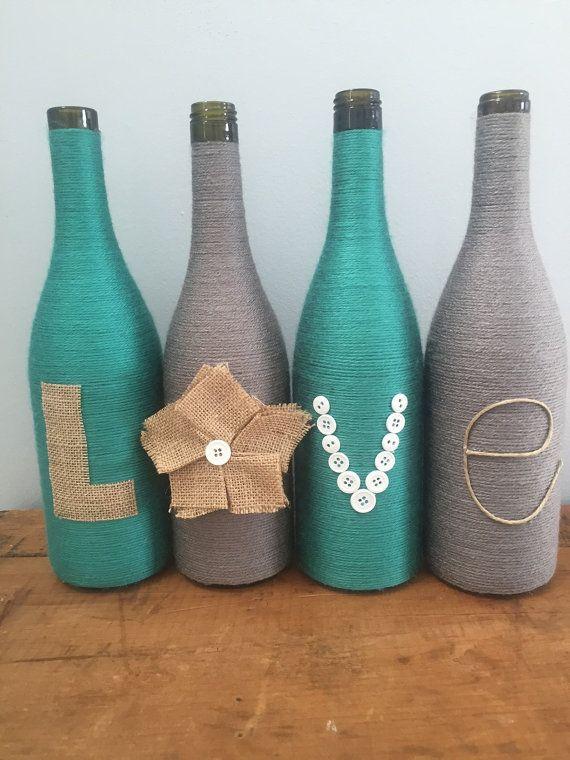 Hilo envuelto botellas, vino, envuelve botellas con amor de arpillera