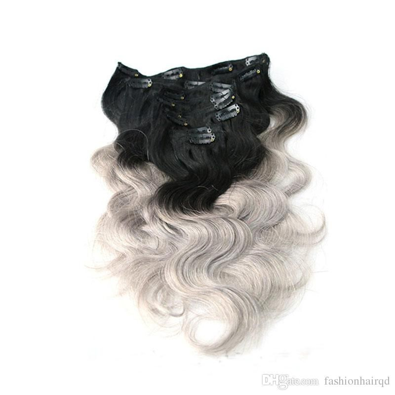 Ombre Clip Indian Hair Extensions T1b Purple T1b Grey T1b 27 Two