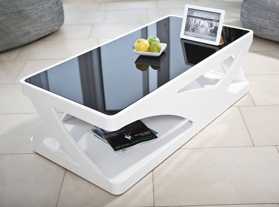 SalesFever Couchtisch in Hochglanz weiß mit schwarzer Glasplatte - designer couchtisch wohnzimmertisch