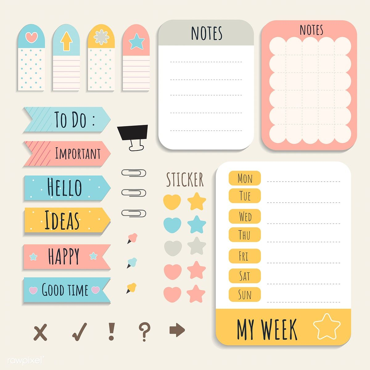 Cute Sticky Note Papers Printable Set Free Image By Rawpixel Com