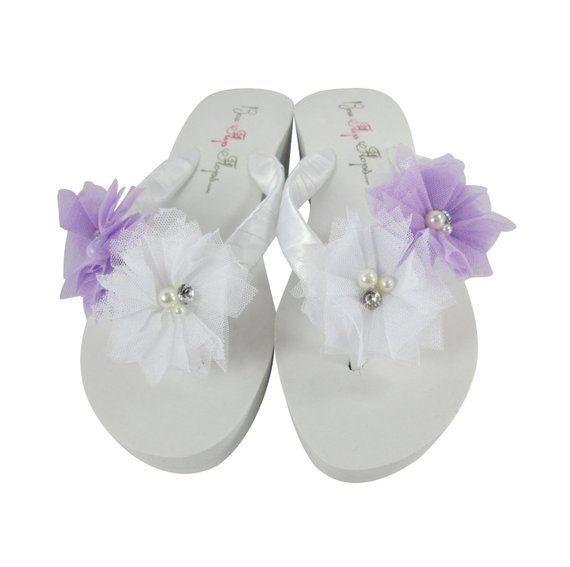 4c01c15498d3 Wedding Flip Flops - Bridal or Bridesmaid Sandals with Tulle Flowers Pearl    Rhinestone - Lavender
