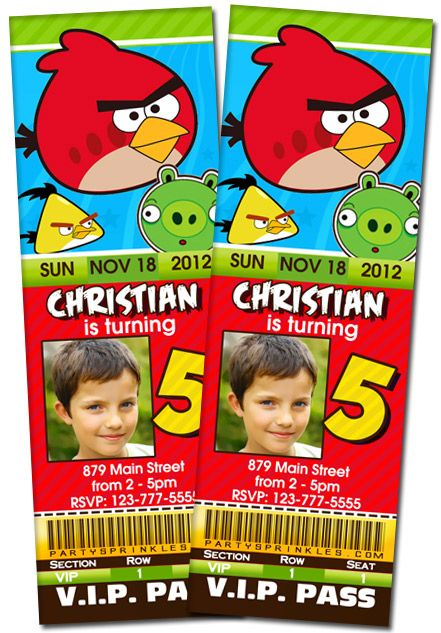 T1 Angry Birds TicketAngry birds pig invitation thank you note – Angry Birds Party Invitations
