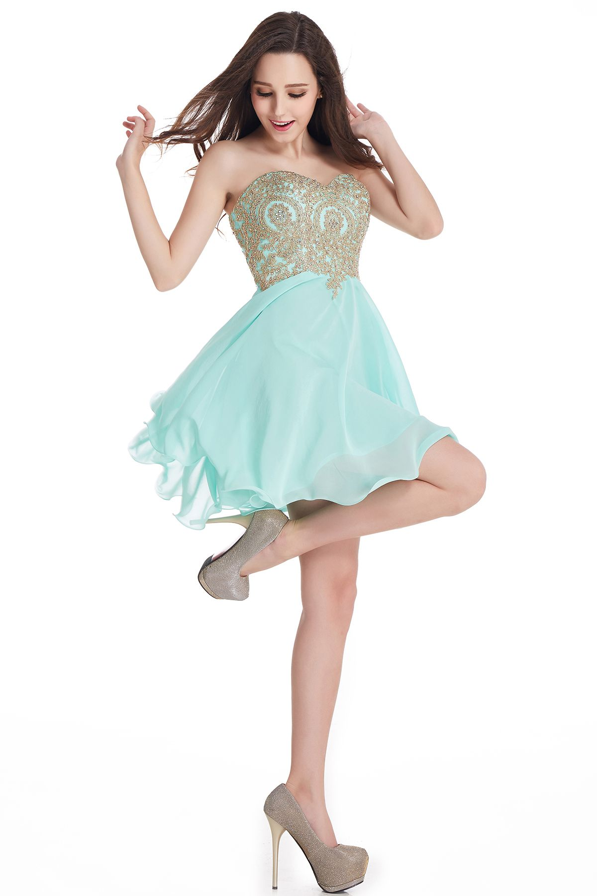 Sweetheart Ming Green Chiffon Lace Short Homecoming Dresses 2016 ...