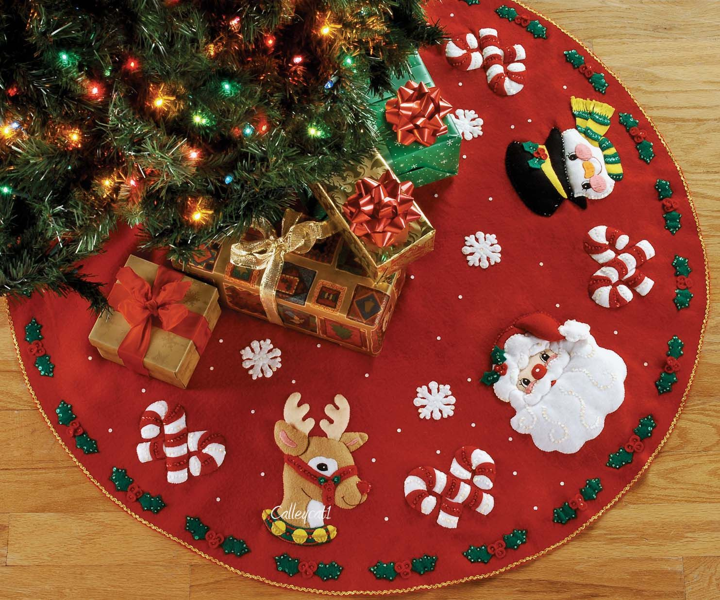Santa Amp Friends 43 Quot Bucilla Felt Christmas Tree Skirt Kit