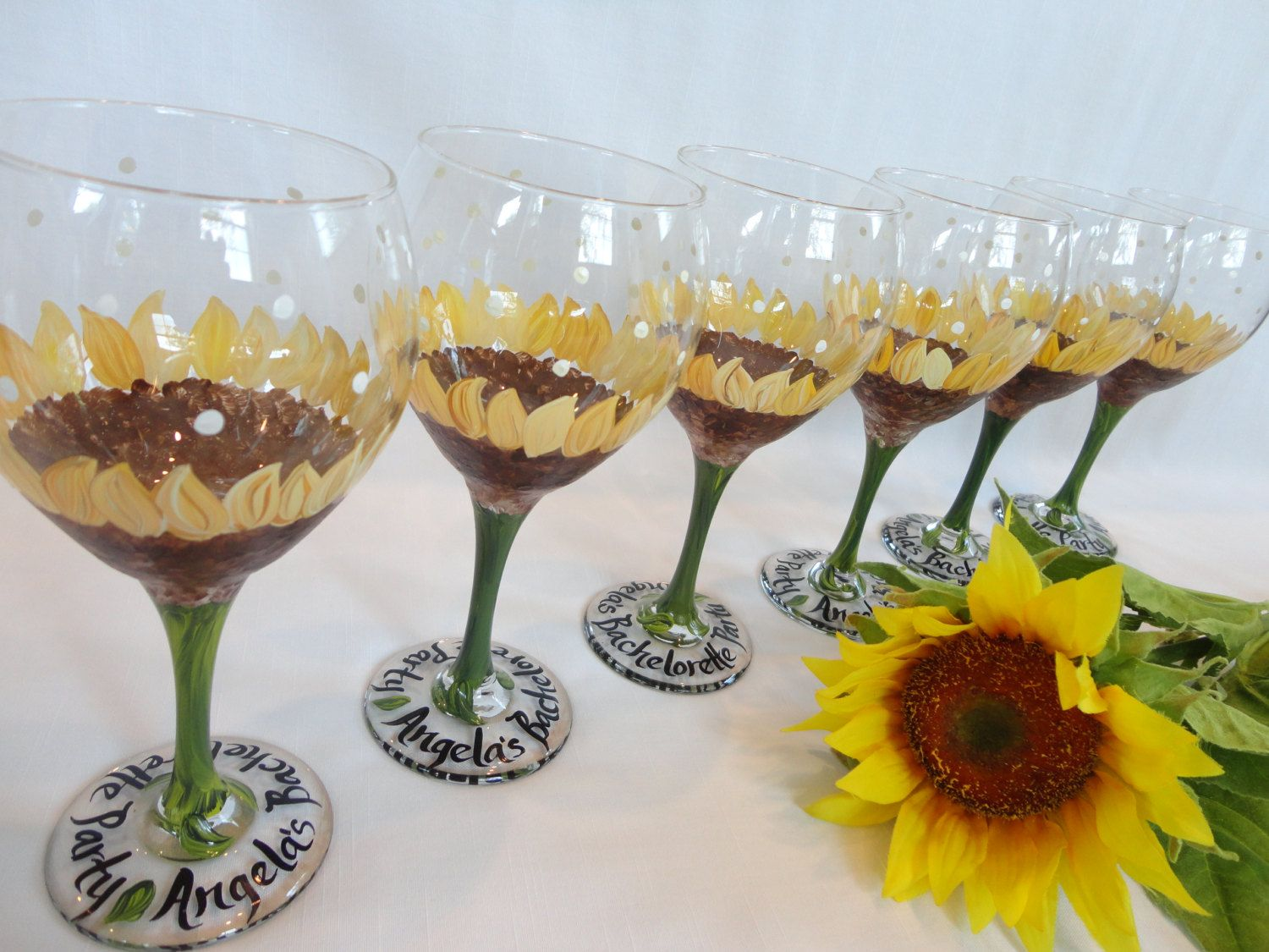 Hand Painted Personalized Sunflower Wine Glasses  - GREAT For BACHELORETTE…