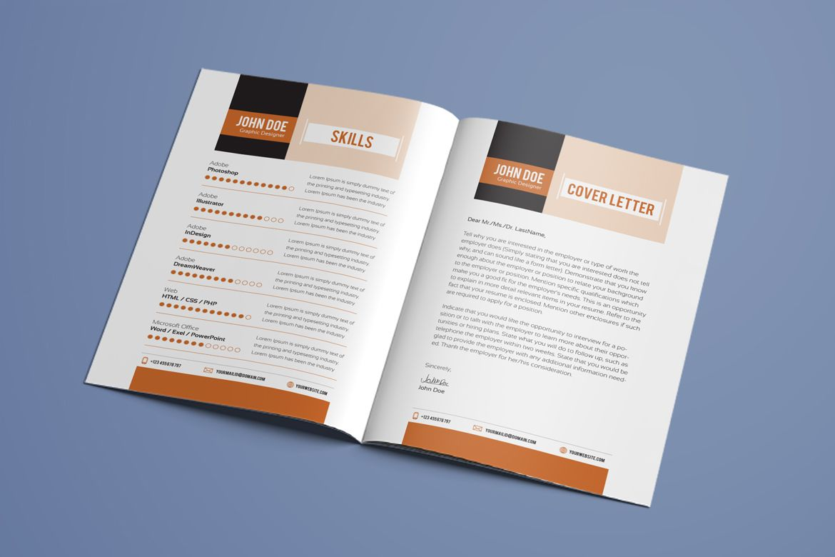 Resume Booklet Modern Cv Professional And Creative Indesign Template