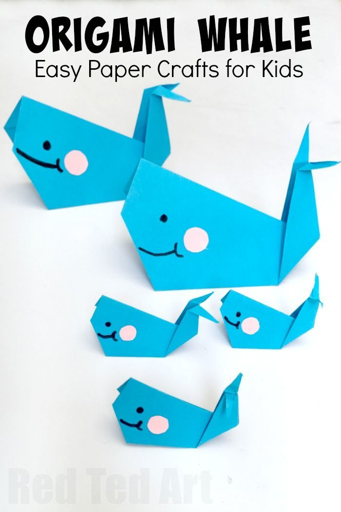 Easy Origami Whale Paper Crafts For Kids Red Ted Art Make Crafting With Kids Easy Fun Easy Origami For Kids Whale Crafts Origami For Beginners