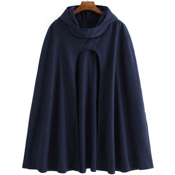 Hooded Long Navy Cape Coat ($29) ❤ liked on Polyvore featuring outerwear, coats, blue, long hooded cape, blue coat, long coat, blue cape and long hooded coat