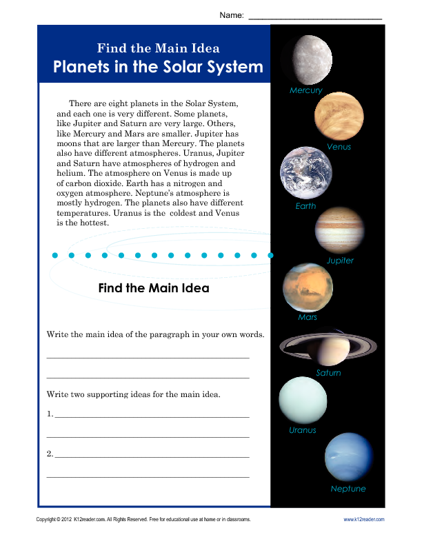 3rd or 4th Grade Main Idea Worksheet About Planets | Main ...