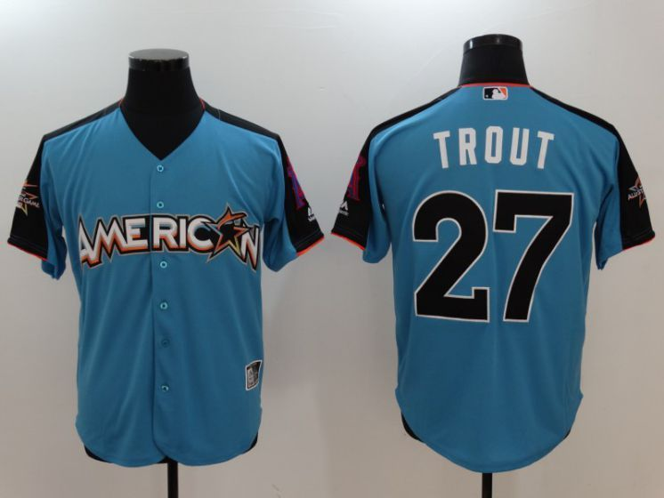 5bbe18027 2017 MLB All-Star Los Angeles Angels 27 Mike Trout Blue Jerseys ...