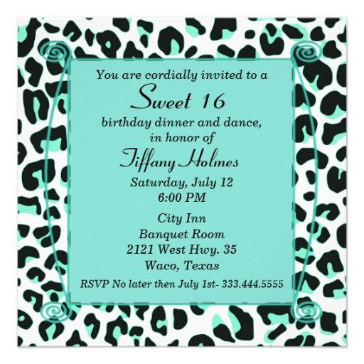 Mint Snow Leopard Sweet 16 Birthday Invitation