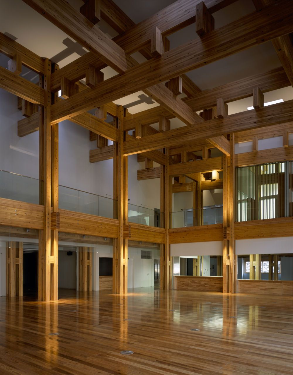 Kengo kuma associates yusuhara town hall pinterest for Japanese indoor design
