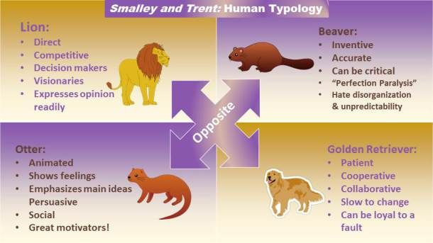 Image result for what are the temperaments viewed as golden retriever, beaver, lion, otter
