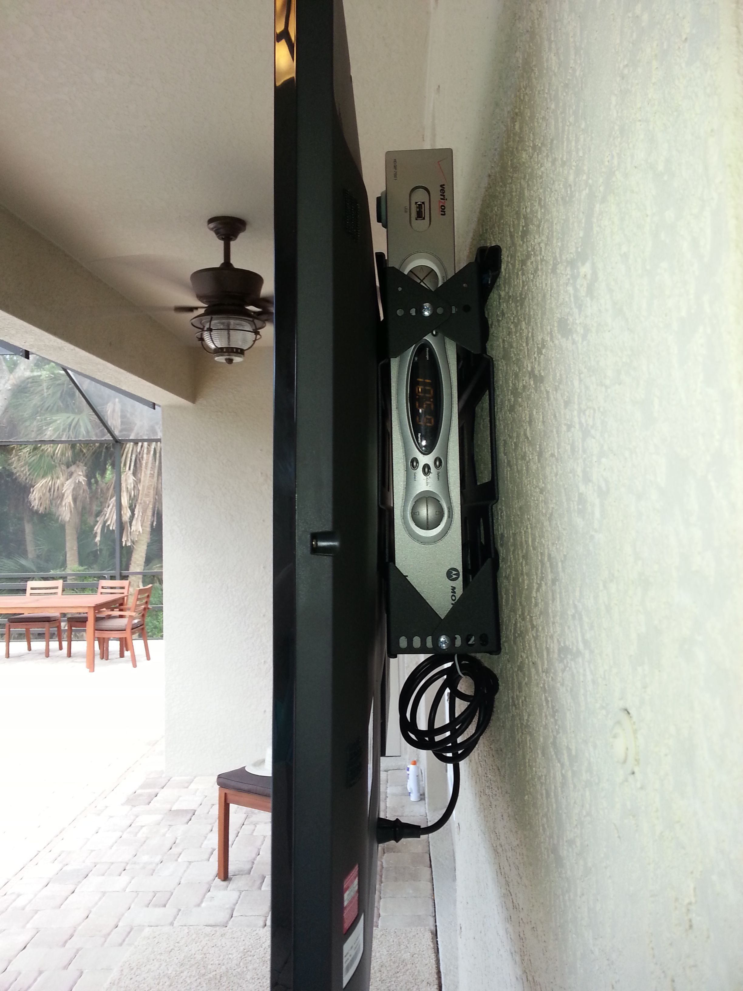 How To Mount Your Tv Outside And Hide The Cable Box And Wires Behind It Wall Mounted Tv Tv Over Fireplace Tv Wall